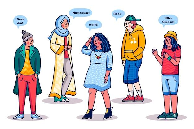 Multikulturelle leutesammlung der karikatur