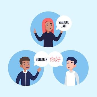 Multikulturelle menschen, die flaches design kommunizieren