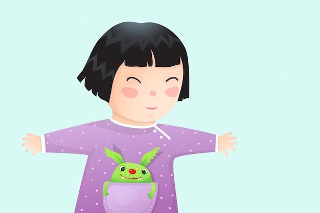 Multikulturelles asiatisches kindermädchen mit monsterhaustier. netter kleiner baby-hand gezeichneter vektorkarikatur des kleinen mädchens.