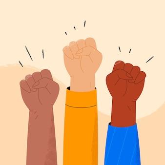 Multikulturelles erhöhtes fäuste-illustrationskonzept