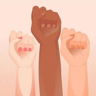 Multikulturelles konzept mit erhobenen fäusten