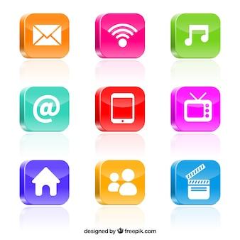 Multimedia bunten icons
