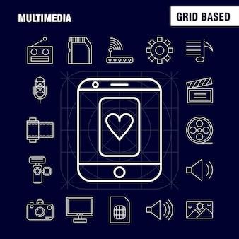 Multimedia line-symbol für web, print und mobile ux / ui kit.
