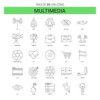 Multimedia-linie ikonen-satz - 25 gestrichelte entwurfs-art