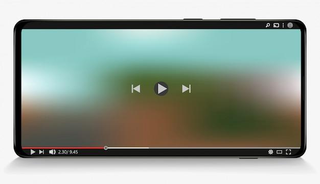 Multimedia-player auf dem smartphone. sozialen medien. abonnieren.