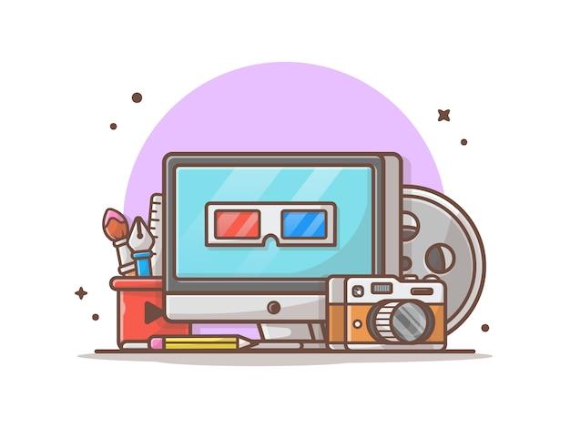 Multimedia-symbol abbildung. desktop, briefpapier, kamera, technologie-ikonen-konzept-weiß lokalisiert