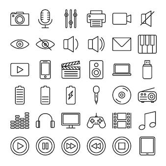 Multimedia-umriss-icon-set
