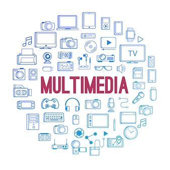 Multimediagerätikonenlinie artkonzept lokalisiert auf weiß