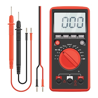 Multimeter elektrik oder elektronik in roter silikonhülle mit sonden. elektrowerkzeuge elektrogeräte. multimeter und steckdose.