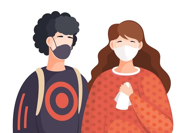 Multinationale frauen und männer tragen medizinische gesichtsmasken