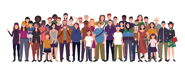 Multinationale gruppe von menschen isoliert auf weißem hintergrund. kinder, erwachsene und jugendliche stehen zusammen. illustration
