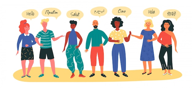 Multinationale gruppe von menschen willkommen in verschiedenen sprachen als konzept des sprachenlernens in speziellen kursen.