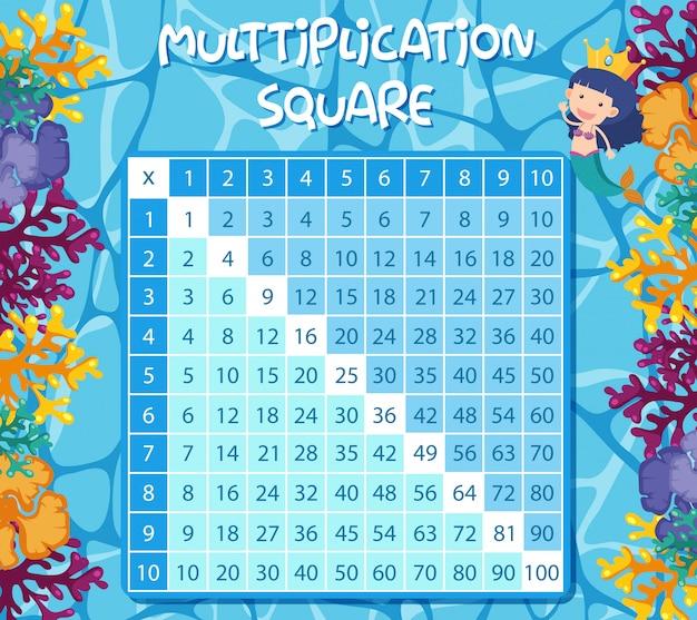 Multiplikationsquadrat mit der meerjungfrau unterwasser