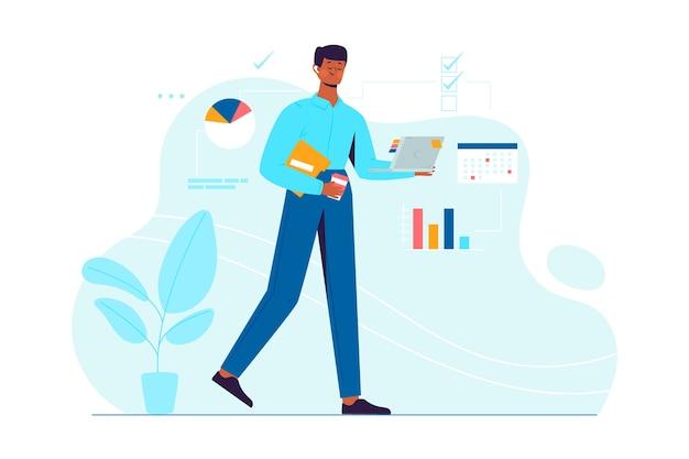 Multitasking-design zur veranschaulichung