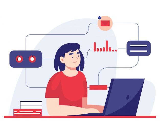 Multitasking-frau, die an einem laptop arbeitet. flache illustration