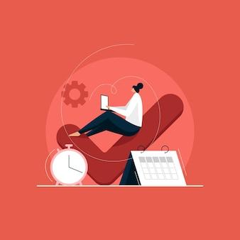 Multitasking-geschäftsfrau mit zeitmanagementkonzept, effektives management mit geschäftlichem hintergrund