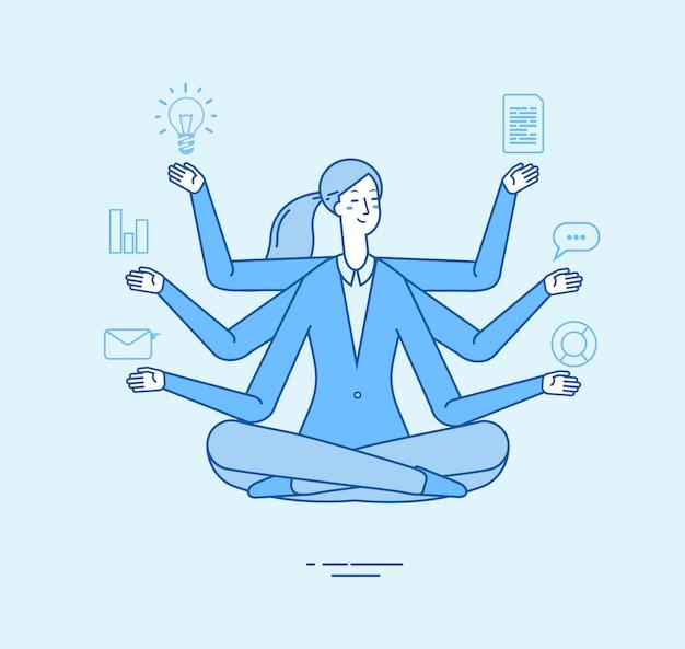 Multitasking-geschäftsfrau. professionelle aufgabe des büroleiters in der entspannenden zen-yoga-pose. büroarbeit meditation