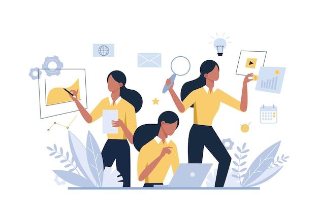 Multitasking geschäftsfrau, weibliche büroangestellte flache illustration