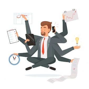 Multitasking geschäftsmann. büroangestellter, der viel arbeit mit den händen schreiben macht, yoga-meditationskonzeptcharakter nennend