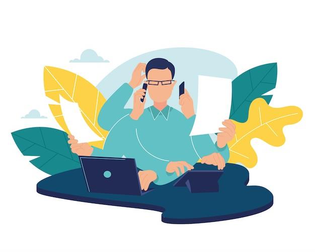 Multitasking-geschäftsmann. büroangestellter, der viel arbeit mit händen schreibt, die das lesen des yoga-meditationskonzeptcharakters rufen