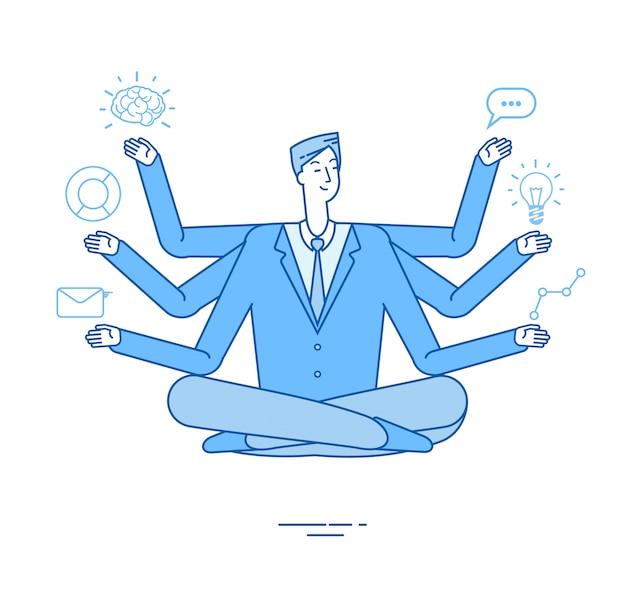 Multitasking-geschäftsmann. der projektmanager, der im entspannungs-yoga-lotus sitzt, stellt sich auf aufgaben. effektives managementkonzept