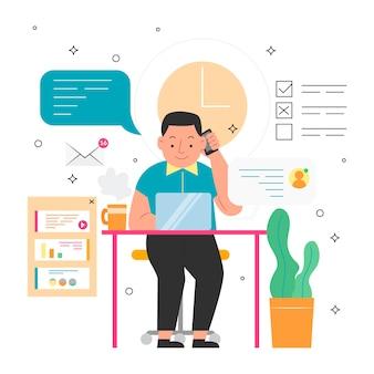Multitasking-konzept mit erwachsenen arbeiten