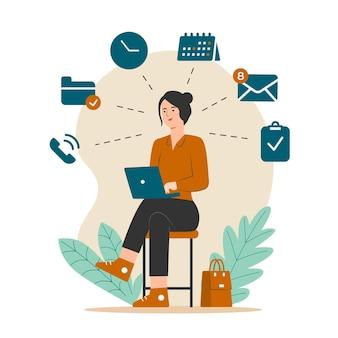 Multitasking-konzept mit frau, die an laptopillustration arbeitet