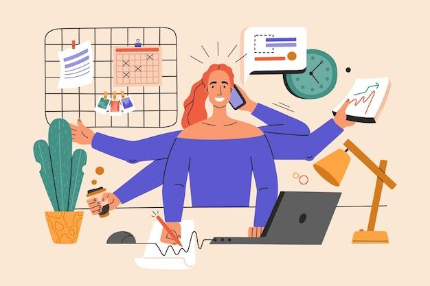 Multitasking-mädchen führt viele aufgaben gleichzeitig aus.