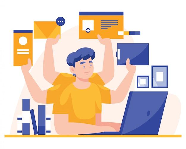 Multitasking-mann, der an einem laptop arbeitet. flache illustration