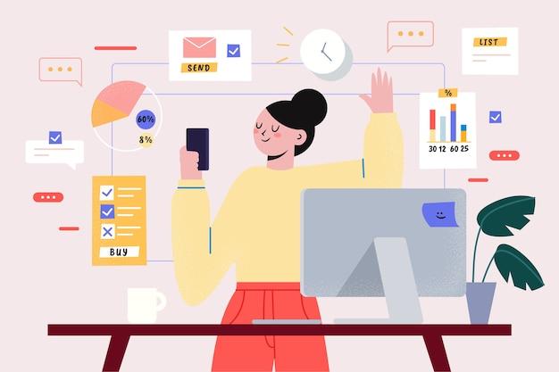 Multitasking-thema zur veranschaulichung