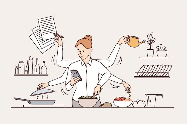 Multitasking- und zeitmanagement-konzept. junge lächelnde frau mit sechs armen, die viele aufgaben gleichzeitig in der küchenvektorillustration ausführt