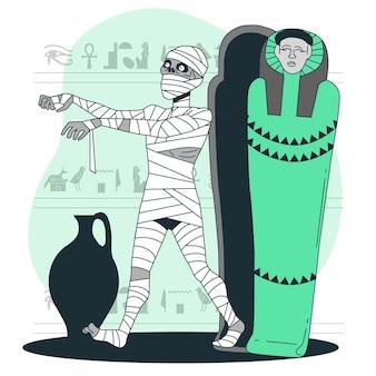 Mumie, die von sargkonzeptillustration aufsteigt
