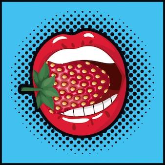 Mund, der süße pop-art-art der erdbeere isst