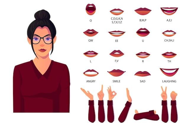 Mundanimationsset mit weiblicher zeichentrickfigur für lippensynchronisation und sprachaussprache mit verschiedenen handgesten
