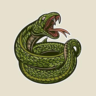 Munddetail-maskottchengrafik der illustration der grünen schlange offene