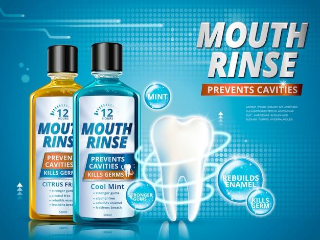 Mundspülanzeigen, erfrischende mundwasserprodukte in verschiedenem geschmack mit gesundem zahnmodell in der 3d-illustration