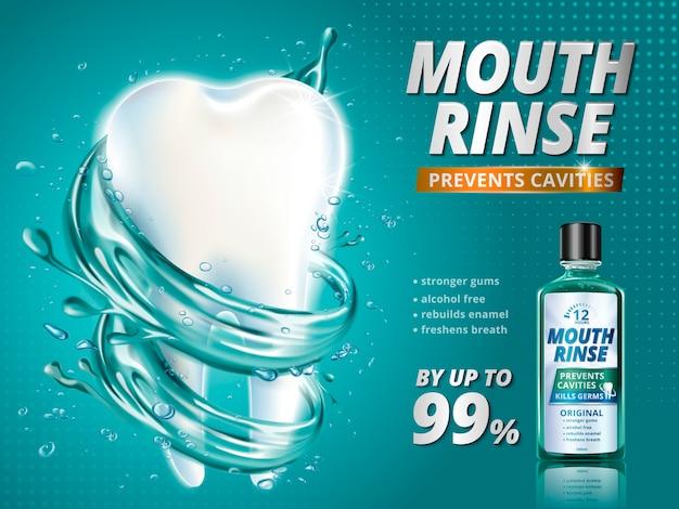 Mundspülanzeigen, erfrischendes mundwasserprodukt mit riesigem gesundem zahnmodell, umgeben von sauberer flüssigkeit in der 3d-illustration,