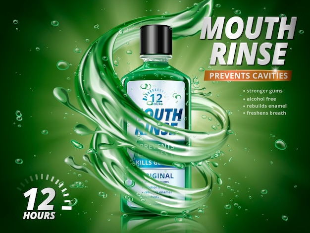 Mundspülanzeigen, erfrischendes mundwasserprodukt mit spritzenden wasserelementen und wassertropfen in der 3d-illustration