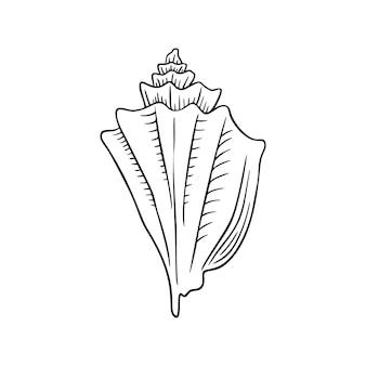 Muschel-dünne linie-symbol, tier und unterwasser