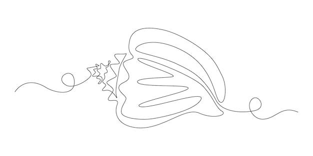 Muschel in einem durchgehenden strichzeichnungsstil für logo oder emblem. meeresschnecken-shell für marine-maskottchen-konzept für das nautische leben-symbol. moderne einfache vektorillustration