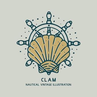 Muschel mit nautischer weinleseillustration des schiffsrades