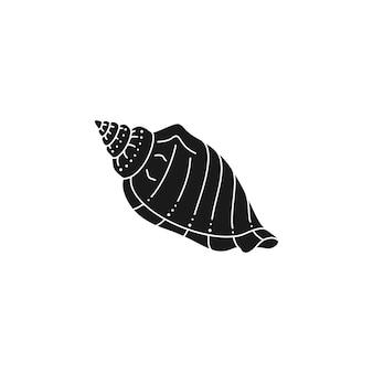 Muschel-silhouette in einem trendigen minimalistischen stil. vektor-illustration einer muschel für logo, website, t-shirt-druck, tätowierung, social-media-post und stories