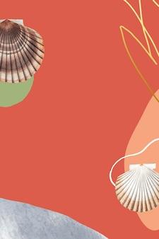 Muschel- und muschelmuster auf orangem hintergrund