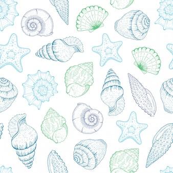 Muschelmuster. nahtloser hintergrund der muschel. ozeanstrandillustration mit skizze seestern, muscheln, tropische muscheln. sommer marine vintage druck. hand gezeichnete blaue grafik des unterwasserlebens