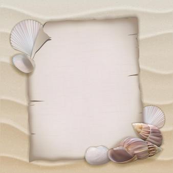 Muscheln und leeres papierblatt. vektor-illustration