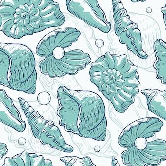Muscheln und perlen mit nahtlosem muster in verschiedenen formen. clamshells monochrome türkisfarbene umrissskizzenillustration auf meeresthema.