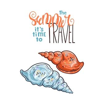 Muschelskizzen. schriftzug: im sommer ist es zeit zu reisen.