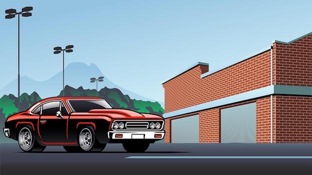 Muscle-car auf dem parkplatz