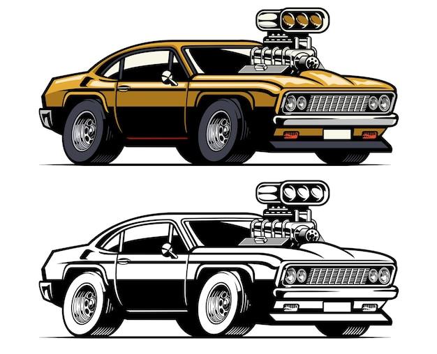 Muscle-car mit großem supercharger-motor aus der haube