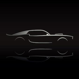 Muscle-car-silhouette auf schwarzem hintergrund mit reflexion